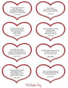 Printable hearts with verses on them for Valentine's Day <3