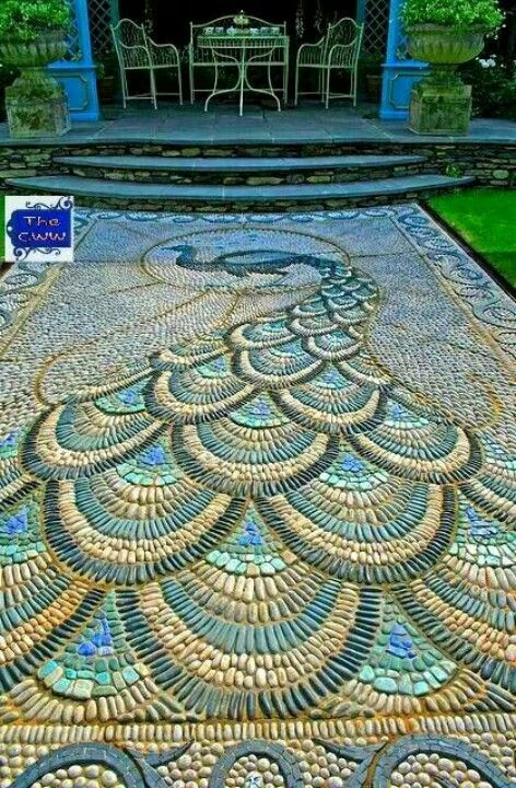 Peacock, river stone mosaic!!!