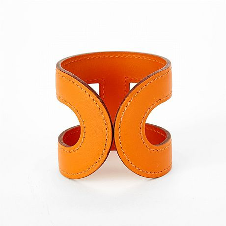 Hermès, armband i orange Box kalvskinn o twilly