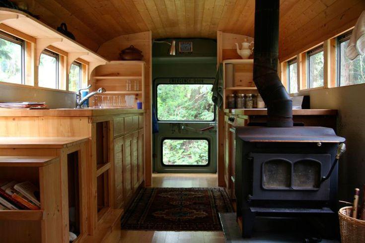 School bus refurbished by WPI Creative. small house, small home, tiny house, tiny home, small spaces, small space living, trailer, camper, caravan