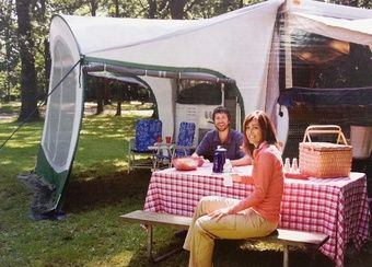 Dometic Cabana Lightweight Dome Awning 7 Foot 747GRN07.000 Cabana dome awning provides shade for your pop up camper. Easily create a porch, screen room, or breeze way.