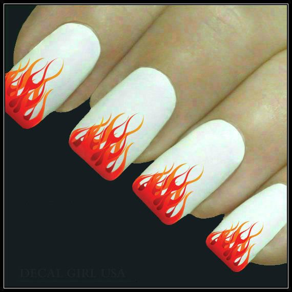 Nail Decal Flame Nail Art 20 Water Slide Decals by DecalGirlUSA