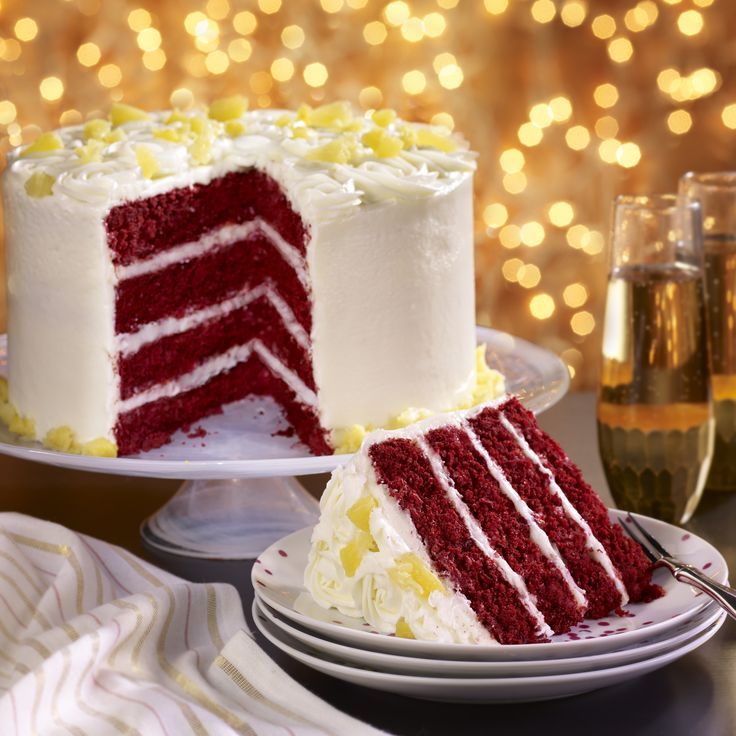 A moist and delicious red velvet cake with a cream cheese buttercream frosting. To make a 2-layer cake, just halve the ingredients.
