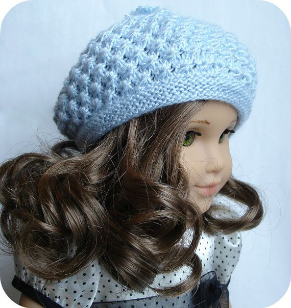 Knitting Pattern For A Dolls Hat : Rosamund Beret - PDF Knitting Pattern For 18