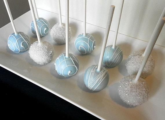 Cake Pops - Elegant Cake Pops in Light Blue and White for Bridal Shower, Baby Shower, Baptism, Birthday, Wedding Favors. $21.95, via Etsy.