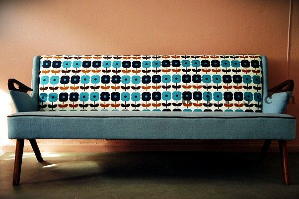 Oh my goodness !!!!! ...... Blue Daisy Sofa | Reupholstered by Kitschdecors | 1950s