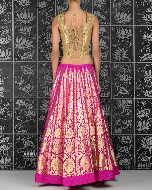 Fuchsia Lengha Set with golden Thread Woven Accents - Rohit Bal - Designers