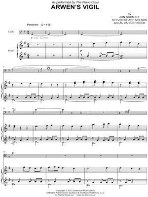 "The Piano Guys ""Arwen's Vigil - Piano Accompaniment"" Sheet Music - Download & Print ~~ Something I plan on learning one of these days! :)"