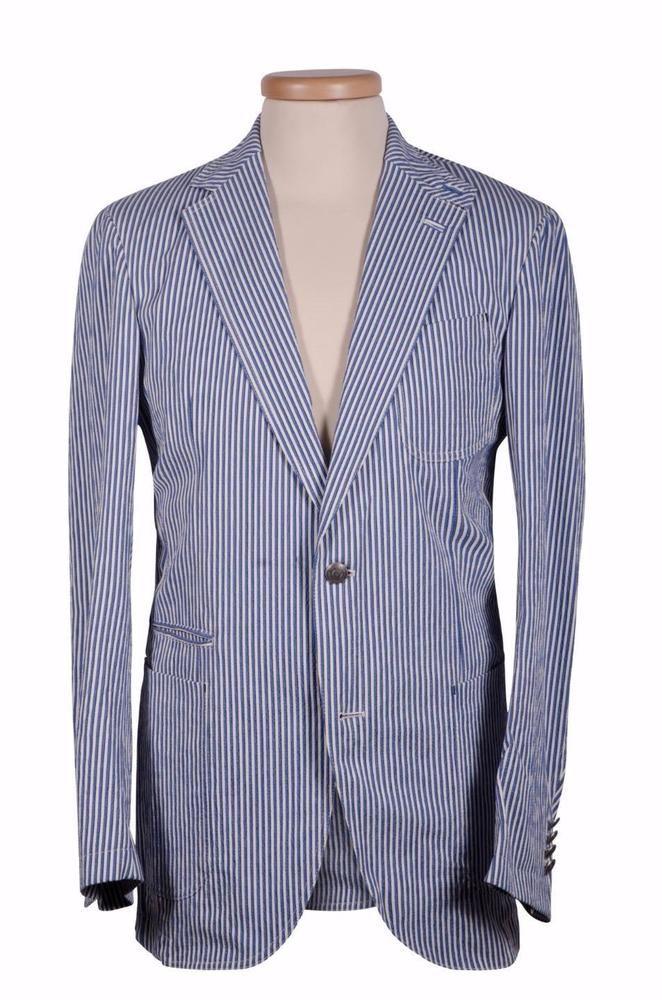 c78b77e13a Ermenegildo Zegna Men's Jacket Blazer White Blue Pattern Silk 50 IT ...