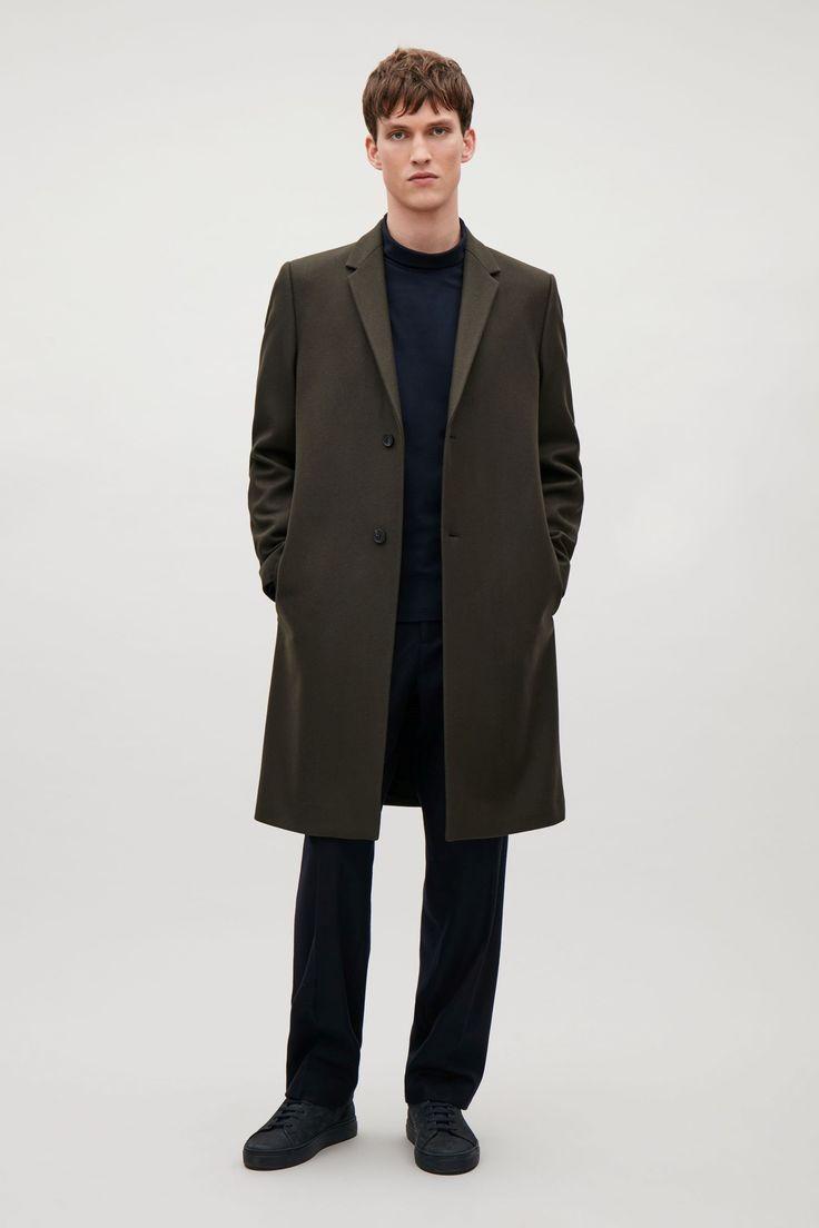 COS image 1 of Wool-blend coat in Bottle Green