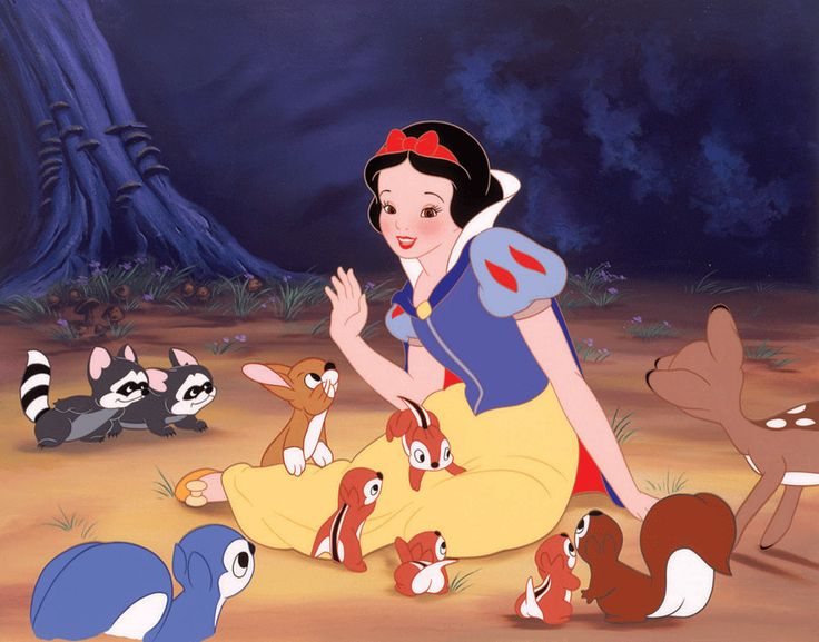 To achieve a natural skin tone for Snow White, real rouge cosmetics were applied to the animated cells.