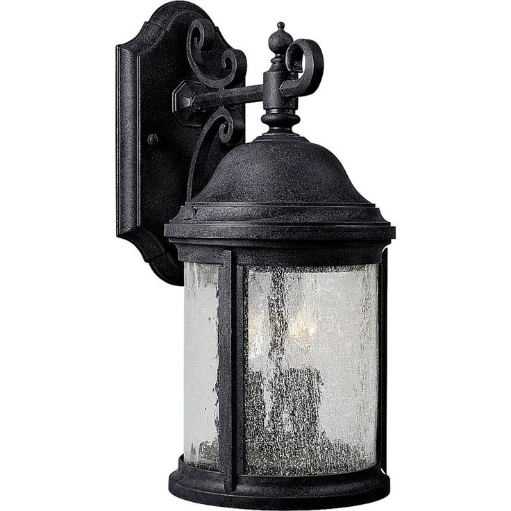 option for basement exterior door? not sure how it compares to current exterior fixture...Progress Lighting Ashmore 14.81-in H Textured Black Outdoor Wall Light