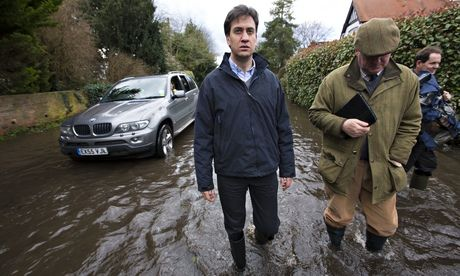 2. Ed Miliband says climate change is now an issue of national security. Britain is sleepwalking towards disaster because of a failure to recognize that climate change is causing the extreme weather that has blighted the country for more than a month, Ed Miliband has warned.