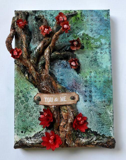 Małe i duże twórcze podróże ... scrapowe :): Drzewo 3D na blejtramie