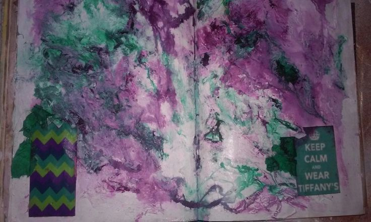 Art journal page texture in purple and teal - tissue paper, Cotton, inks
