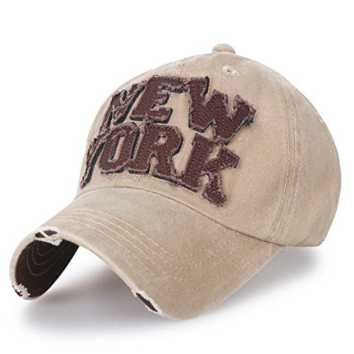 ililily Washed Cotton NEW YORK Vintage Trucker Hat Casual... https ... 3342811cac3