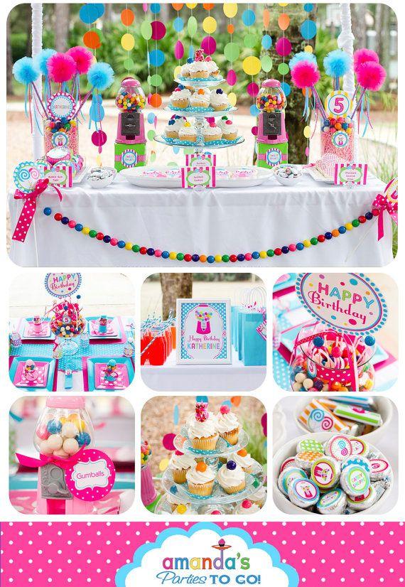 LOOOOOOVE this gum ball garland. Candy Sweet Shoppe Party Printables Set by AmandasPartiesToGo on Etsy, $29.00