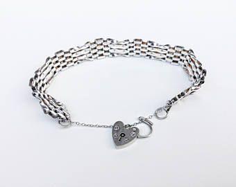 Gate bracelet. Antique silver bracelet. Love heart padlock. English jewellery. Christmas present. Antique jewellery. Vintage jewelry.