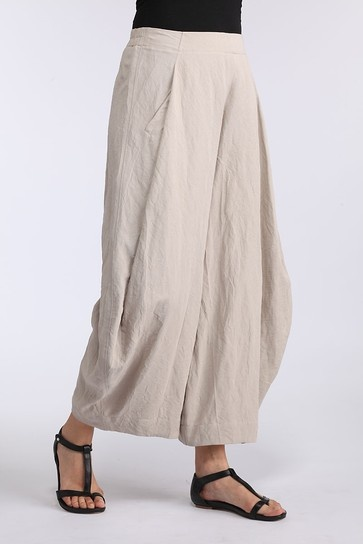"""Pinja trouser.  """"A special fold a the front give these 7/8 length trousers ample width at the legs.  This makes them fall almost like a divided skirt."""""""