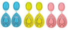 Leuke Ibiza oorbellen in de kleur blauw, groen en roze kijk snel op http://www.wenn-sieraden.nl/oorbellen