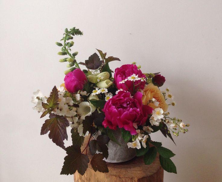 Peonies, Rose, Foxglove, Wild Rose, Lady's Mantle