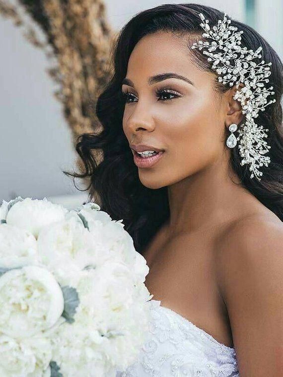 Crystal bridal hair piece Silver headpiece Hair jewelry Wedding hair accessory Babys breath hair vine Swarovski hair brooch Bridal comb Halo