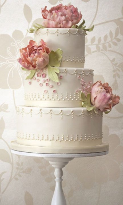 Ivory Wedding Cake with Intricate Piping Detail & Pink Florals
