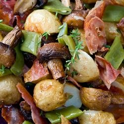 Warm Salad With Roasted Potatoes and Mushrooms, Runner Beans, Prosciutto and Thyme