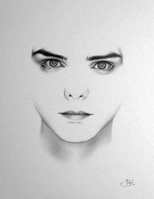 Gerard Way meine chemische Romance Minimalismus Porträt Zeichnung Fine Art PRINT handsigniert