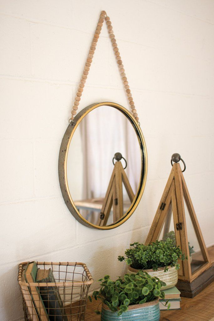 Round Mirror with Wooden Bead Hanger | Urban Farmhouse Designs