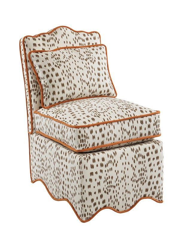 oomph scallop slipper chair in brown brunschwig u0026 fils les touches with a signature oomph hit of orange