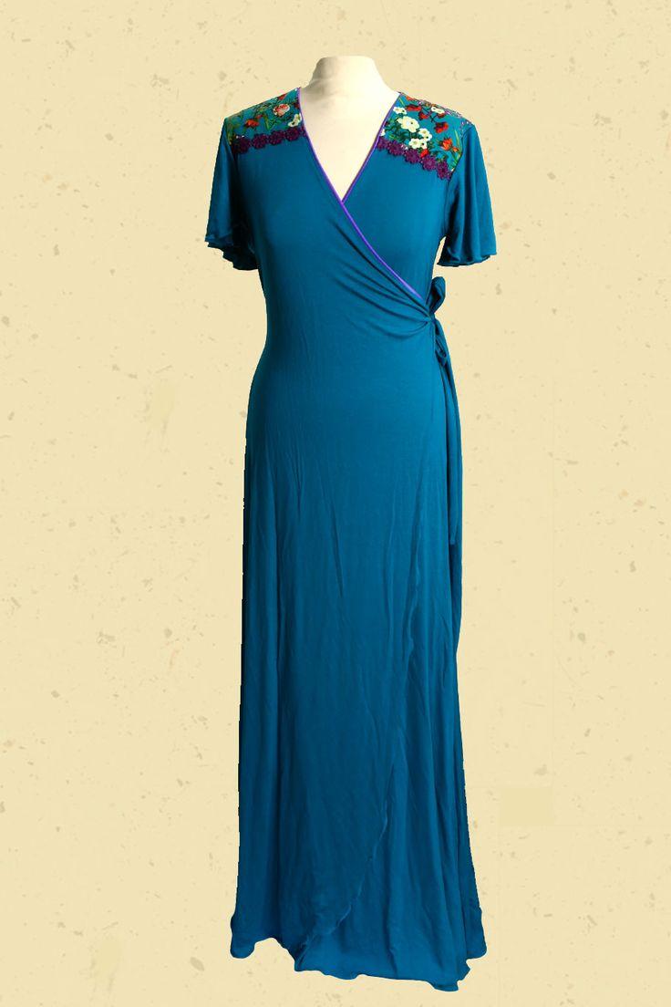 Talulabelle petrol blauwe maxi-jurk met gekleurde bloemen blue petrol maxi dress vintage material floral print