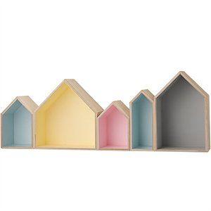 Sættekasse i træ - Huse i Pastelfarver