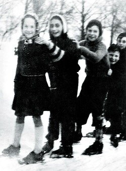 Anne Frank (second from left) ice skating with friends in Vondel Park, Amsterdam, 1941.