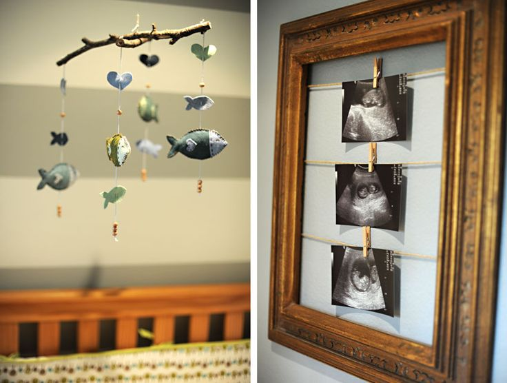 Rustic Baby Room Decor Nursery Blue Boy Owls Fish Mobile