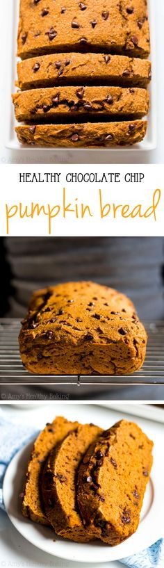 The BEST Chocolate Chip Pumpkin Bread -- this clean-eating bread don't taste healthy at all! You'll never need another pumpkin bread recipe again!