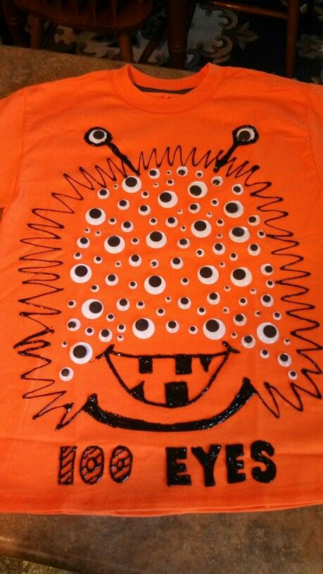 Tanner's 100 Eye Monster shirt for the 100th day of school. We simply hot glued google eyes to a shirt and drew the design using a fabric paint pen. He loves it! :)
