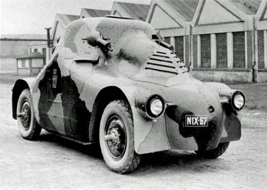 """""""The Škoda PA-II (Panzerwagen II) featured rounded armor plate which earned it the nickname """"Tortoise"""". Production started in 1923, with 12 units ordered. Vienna's police force purchased three vehicles in 1927, and the remaining nine vehicles were purchased by the Czech police force in 1937. The Germans took over the PA-IIs when they annexed Czechoslovakia in 1939, and used them as armored radio vehicles."""""""