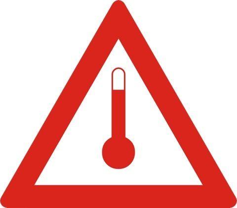 Naklejka Materiały o podwyższonej temperaturze. Oznaczenie stosowane w trakcie transportu materiałów o podwyższonej temperaturze. Charakterystyka...