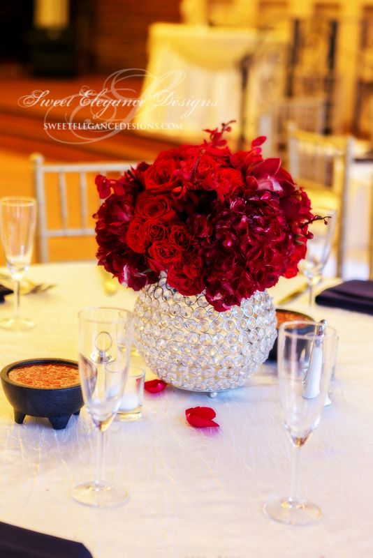Red wedding, red centerpiece, bling, crystal globe, hydrangea, roses, romantic, crystal vases, crystal centerpiece.