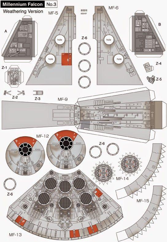 Maqueta 3D descargable del Halcón Milenario de la saga de Star Wars | DEF Deco - Decorar en familia