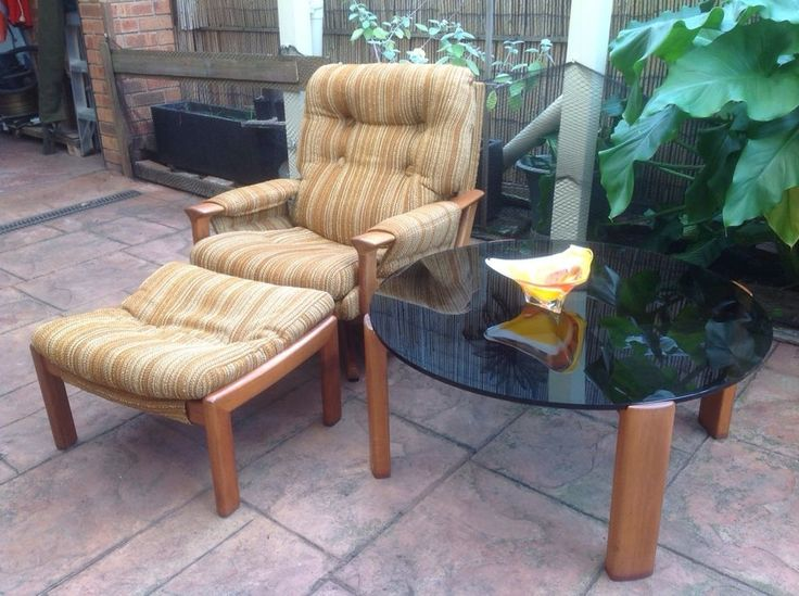 Retro Vintage TESSA arm chair & ottoman stool Fred Lowan Danish Style lounge T1.