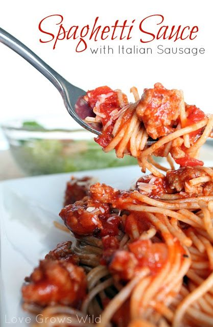 The BEST Spaghetti Sauce made with savory Italian Sausage! Great for freezing and can be used in lots of recipes. SO GOOD!