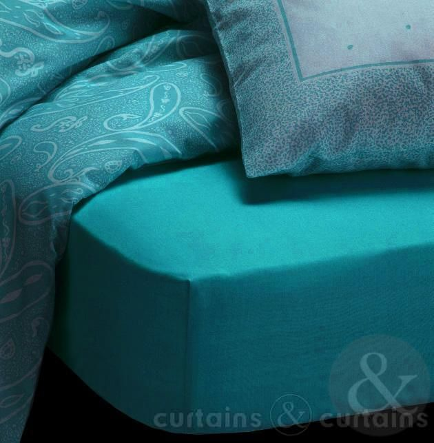 Plain Fitted Teal Bed Sheet - Bedding UK