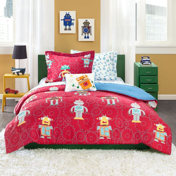 mi zone kids rockin robots comforter set in red