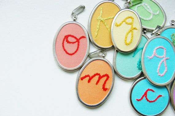 Embroidered Initial Pendant Personalized by merriweather council