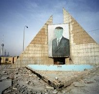 IRAQ 2004, ONE YEAR AFTER BAGHDAD DESTROYED MONUMENT OF SADDAM (BAAS PARTY -IRAQ SECRET SERVICES QUARTER)