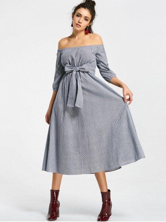 Stripes Belted Off Shoulder Midi Dress