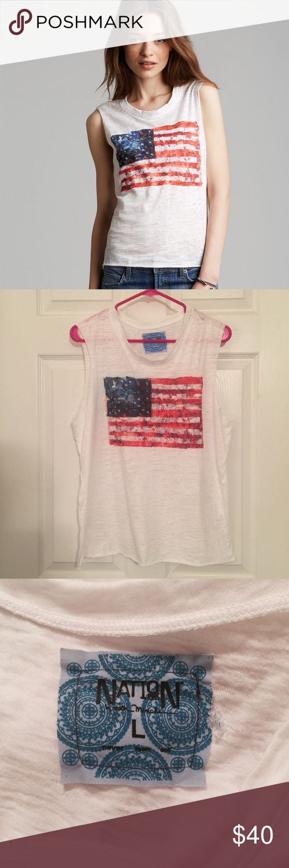 NWOT Nation Ltd American Flag Tank NWOT awesome American Flag tank by Nation Ltd. Super soft burnout fabric that you will love! Size large, runs true to size; no imperfections! Nation Ltd Tops Tank Tops