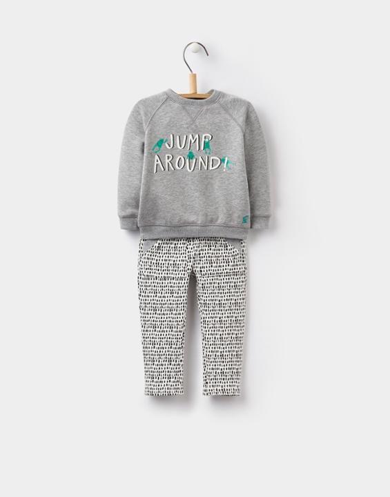 Joules UK CHRIS BabyBoys Sweatshirt and Bottoms Set Grey Marl
